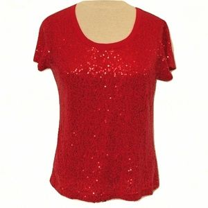 DKNY Red Sequined Tee- Size Medium